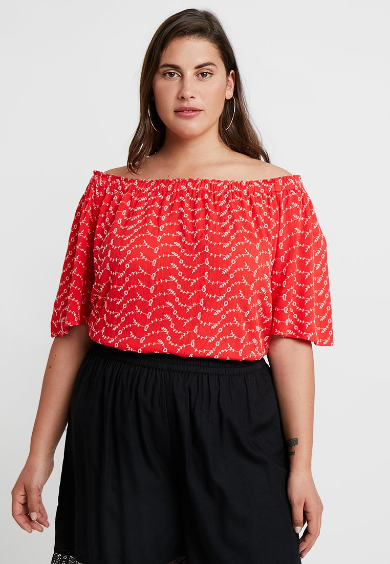 CAPSULE by Simply Be - BRODERIE BARDOT - Bluser - red/white