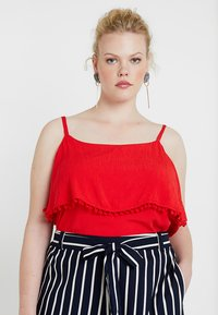 CAPSULE by Simply Be - POM POM TRIM DOUBLE LAYER CAMI - Top - red - 0