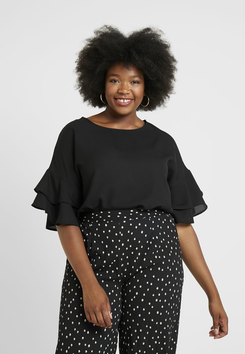 CAPSULE by Simply Be - FLUTED SLEEVE BOXY  - Bluse - black