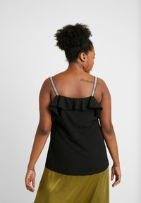 CAPSULE by Simply Be - DROP SHOULDER FRILL CAMI WITH DIAMONTE STRAP - Top - black - 2