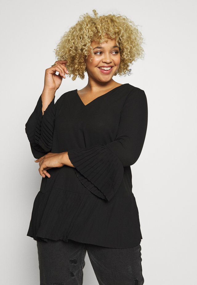 V-NECK FRILL PLEAT BLOUSE - Bluzka - black