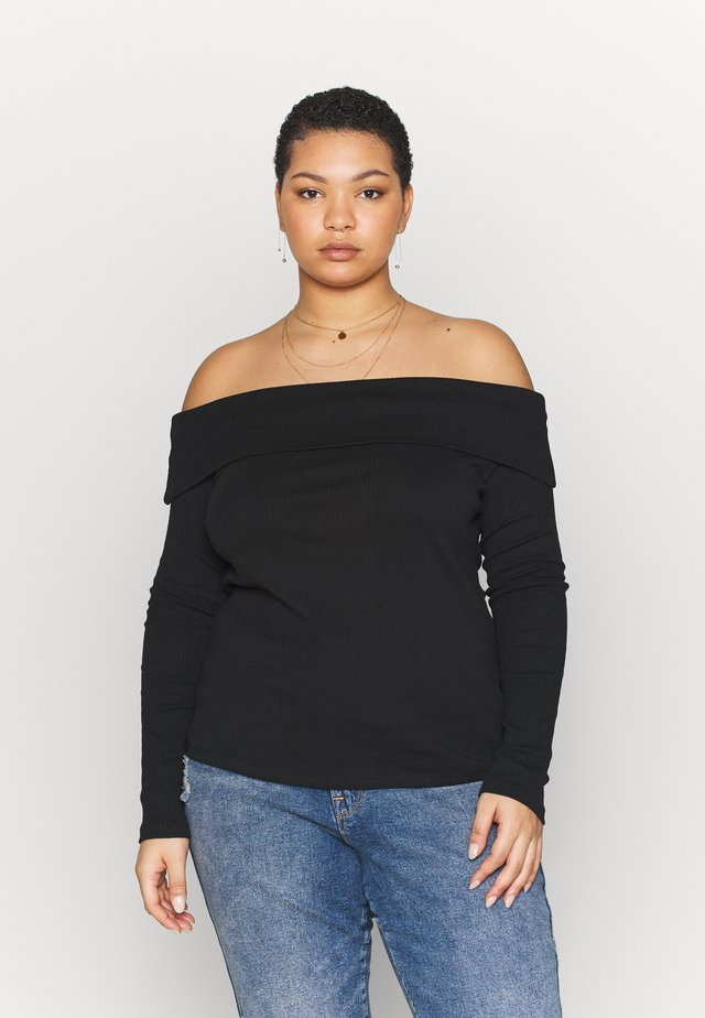 FOLD OVER BARDOT - Long sleeved top - black