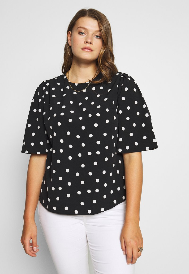 CAPSULE by Simply Be - PUFF SLEEVE SHELL TOP - Blouse - mono spot print