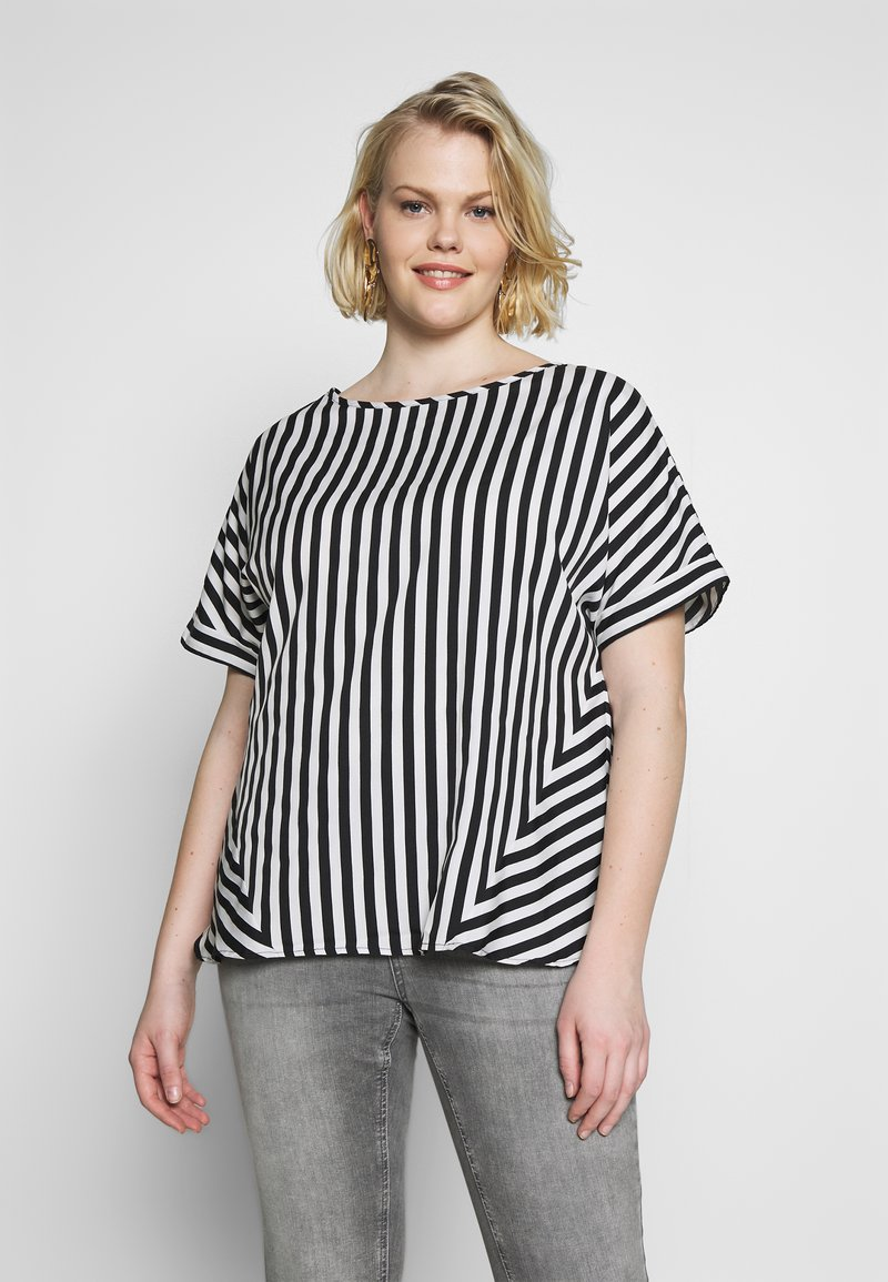 CAPSULE by Simply Be - CONTRAST SIDE STRIPE BOXY - Blouse - white