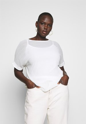 TEXTURED BOXY TOP - Bluser - ivory