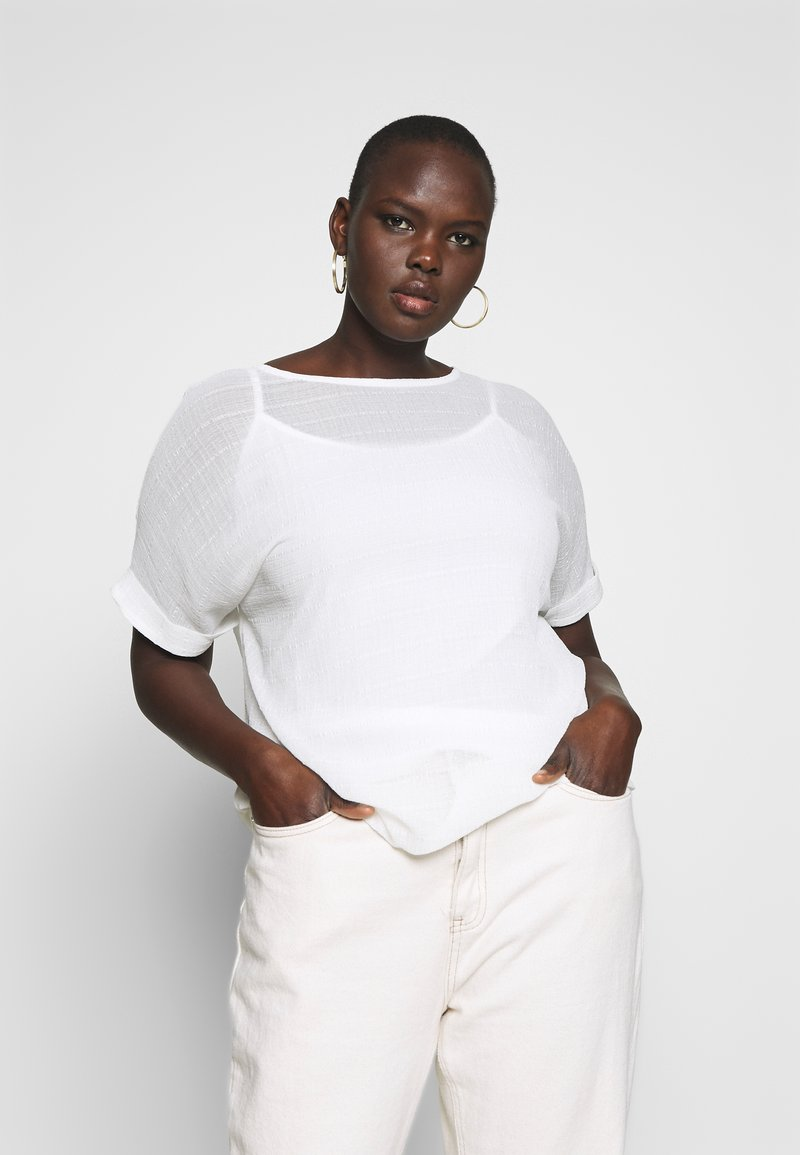 CAPSULE by Simply Be - TEXTURED BOXY TOP - Blouse - ivory