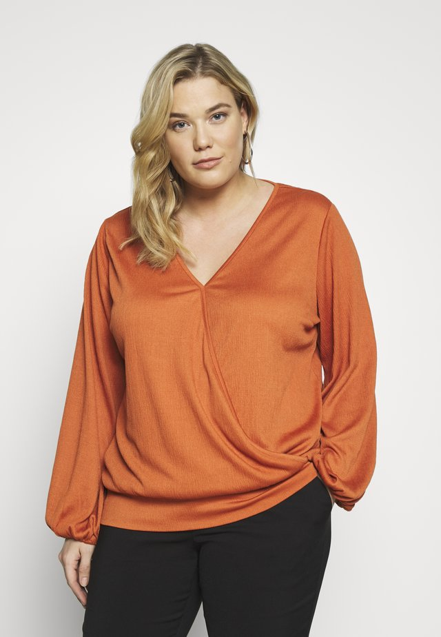 TEXTURED WRAP - Long sleeved top - rust