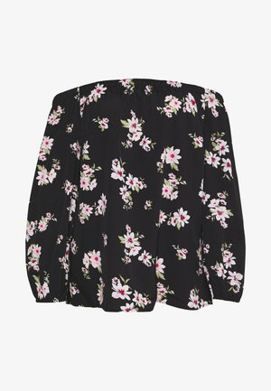 FLORAL PRINT LONG SLEEVE BARDOT - Blus - black