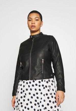 TAB COLLAR BIKER JACKET - Faux leather jacket - black