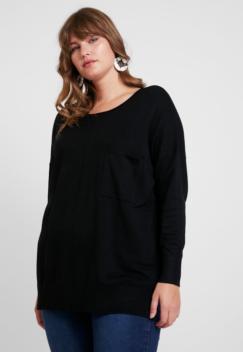 CAPSULE by Simply Be - BOXY JUMPER WITH POCKET DETAIL - Jumper - black