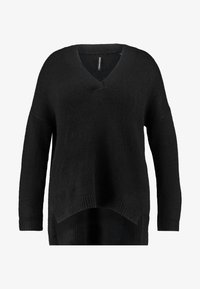 CAPSULE by Simply Be - ELEVATED ESSENTIALS V NECK JUMPER - Strikpullover /Striktrøjer - black - 3
