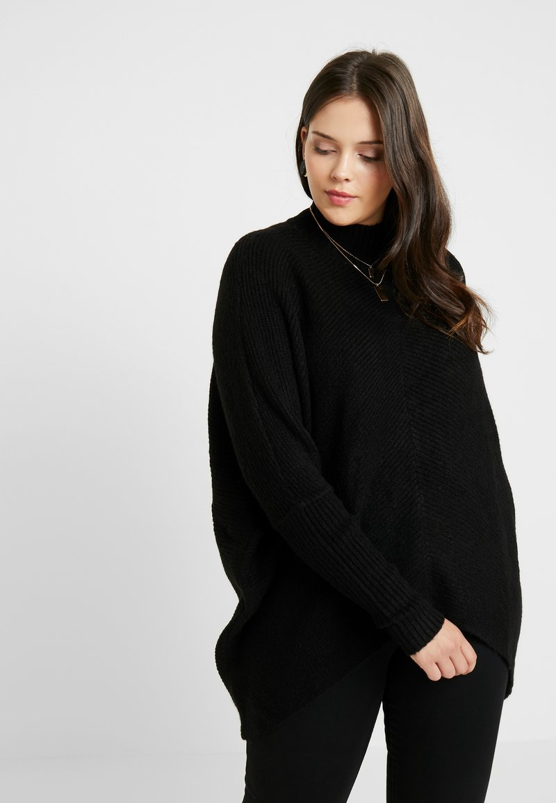 CAPSULE by Simply Be - ELEVATED ESSENTIALS HIGH NECK DETAIL JUMPER - Strickpullover - black