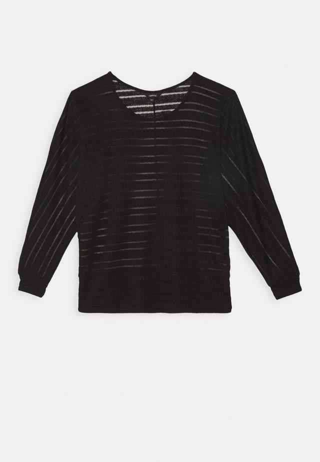 CUT SEW SHEER STRIPE - Strickpullover - black