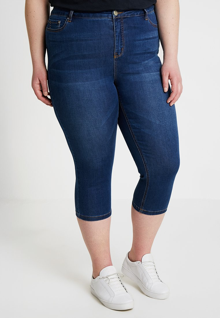 CAPSULE by Simply Be - COOLMAX ECOMADE CROP - Jeans Shorts - mid blue