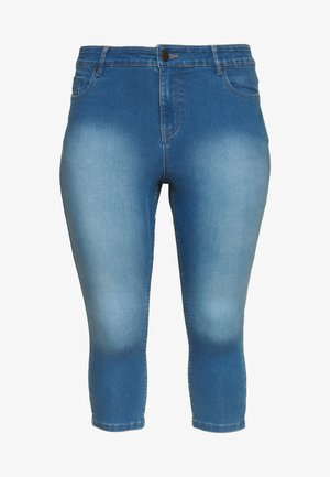 LUCY HIGH WAIST SUPER STRETCH CROP - Jeansshorts - blue
