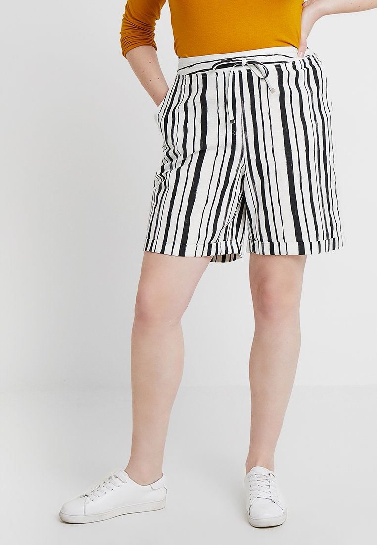 CAPSULE by Simply Be - EASY CARE STRIPE MIX - Shorts - ivory/black