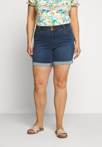 CAPSULE by Simply Be - SHAPE AND SCULPT - Denim shorts - mid blue - 0