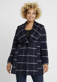 CAPSULE by Simply Be - CHECK PRINT LARGE COLLAR COAT - Manteau classique - navy/white - 0