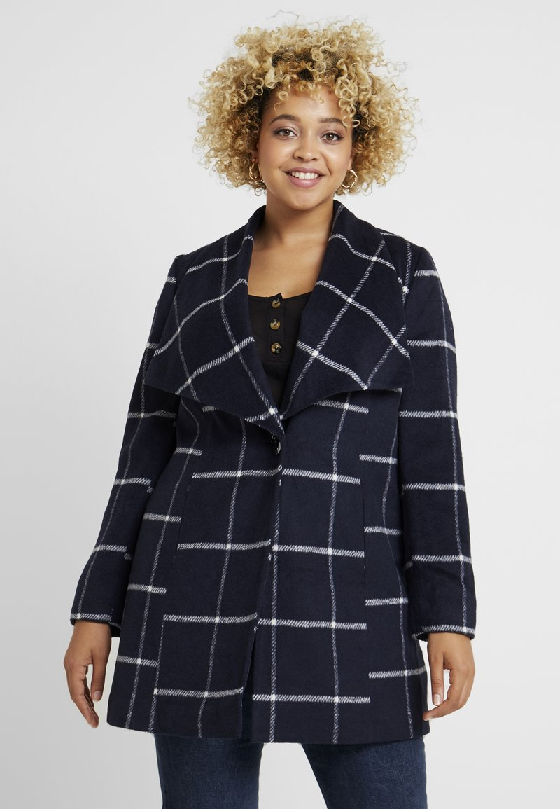 CAPSULE by Simply Be - CHECK PRINT LARGE COLLAR COAT - Classic coat - navy/white