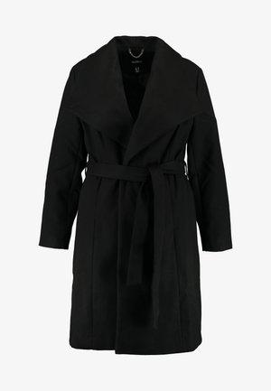 LONGLINE BELTED WRAP COAT - Zimní kabát - black