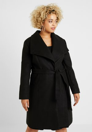 LONGLINE BELTED WRAP COAT - Mantel - black