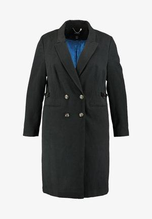 DOUBLE BREAST SMART MILITARY COAT WITH SIDE BUCKLES - Kåpe / frakk - black