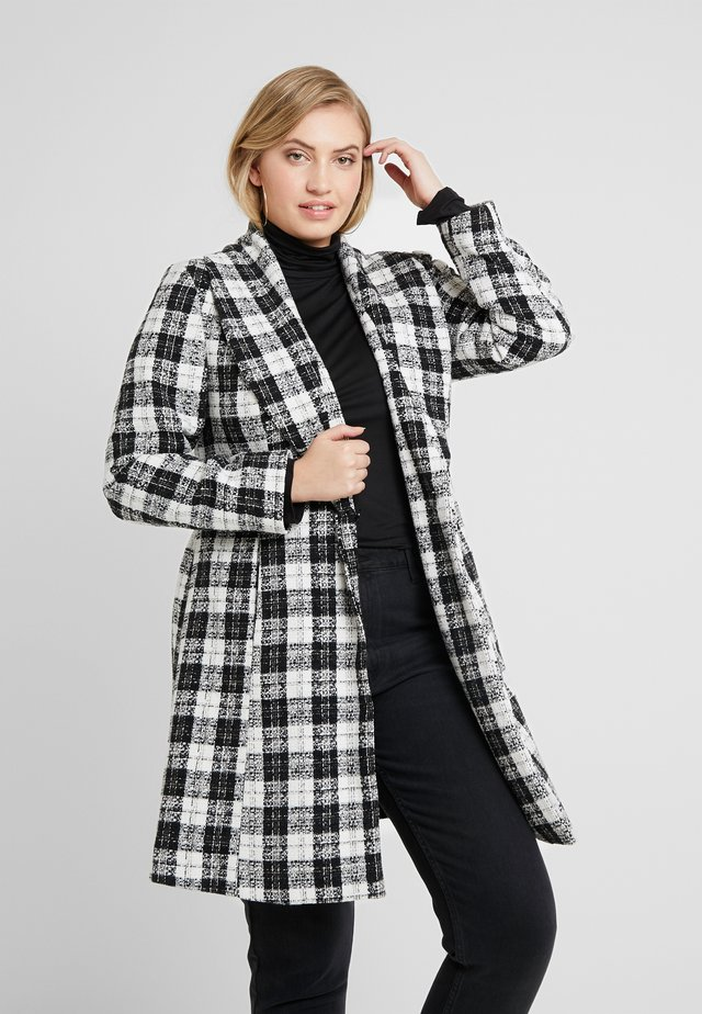 DETACHABLE TRIM BELTED CHECK WRAP COAT - Pitkä takki - black