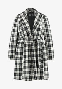 CAPSULE by Simply Be - DETACHABLE TRIM BELTED CHECK WRAP COAT - Manteau court - black - 4