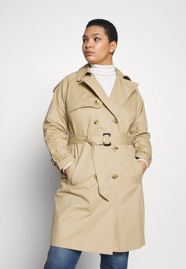 LONGLINE DOUBLE BREASTED - Trenchcoat - camel