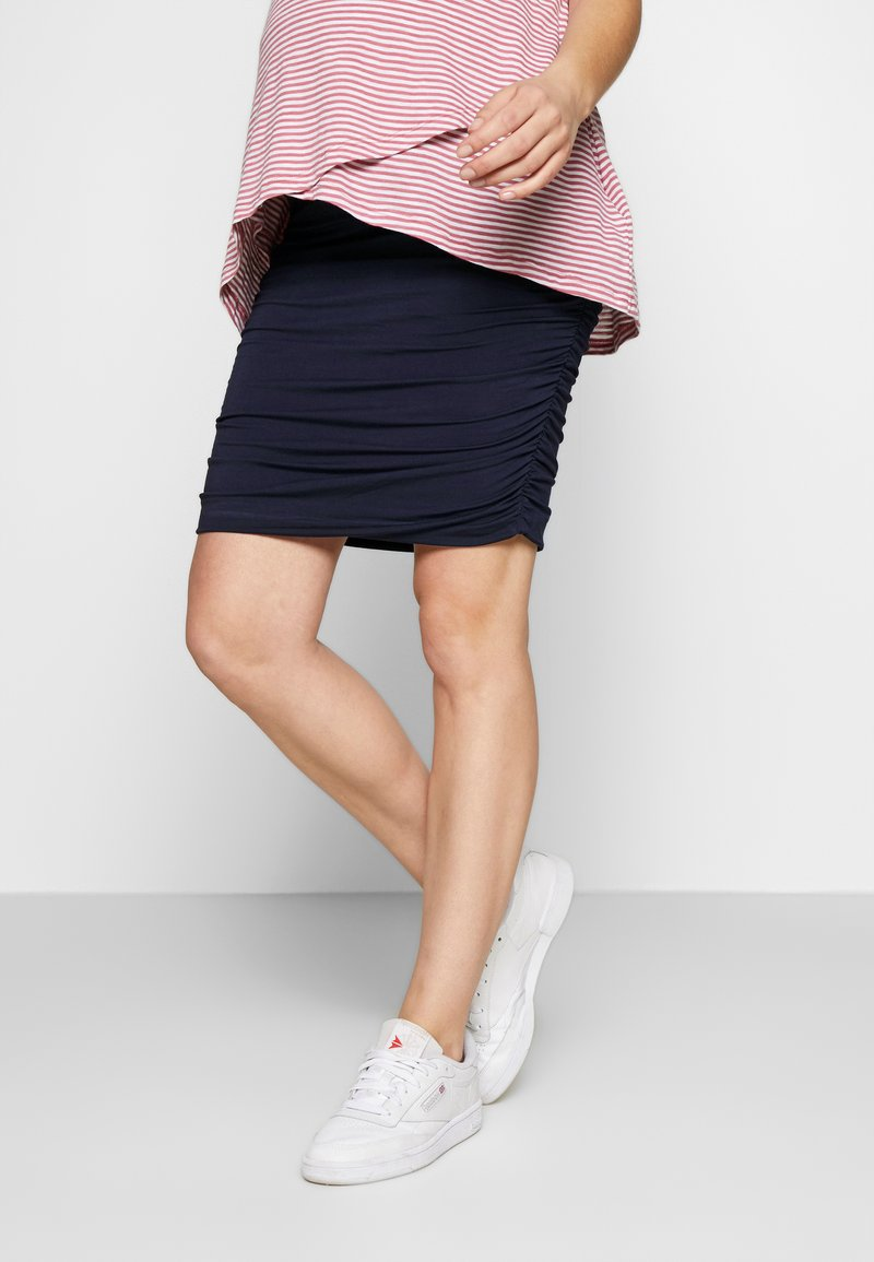 Cake Maternity - RUCHED FITTED SKIRT - Pencil skirt - navy