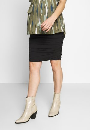 RUCHED FITTED SKIRT - Gonna a tubino - black