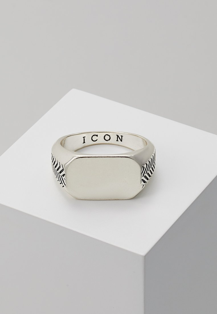 Icon Brand - HERRING BONE SIGNET RING - Ring - silver-coloured