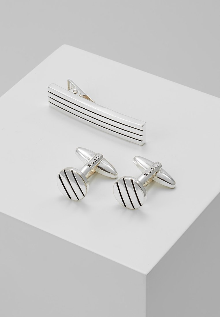 Icon Brand - PINSTRIPE TIE BAR AND CUFFLINK SET - Boutons de manchette - silver-coloured