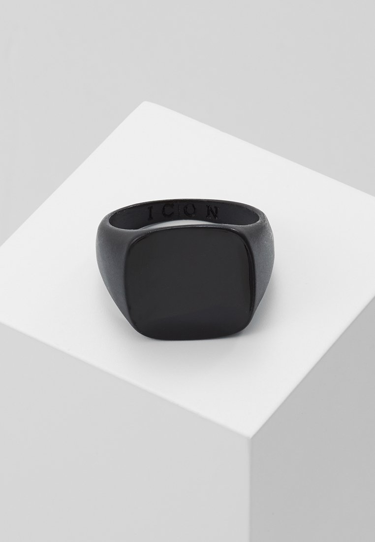 Icon Brand - SQUARED SIGNET - Prsten - black
