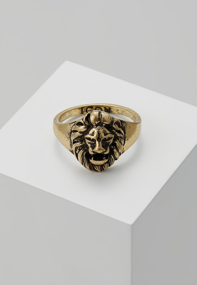 LION HEAD SIGNET - Anello - gold-coloured