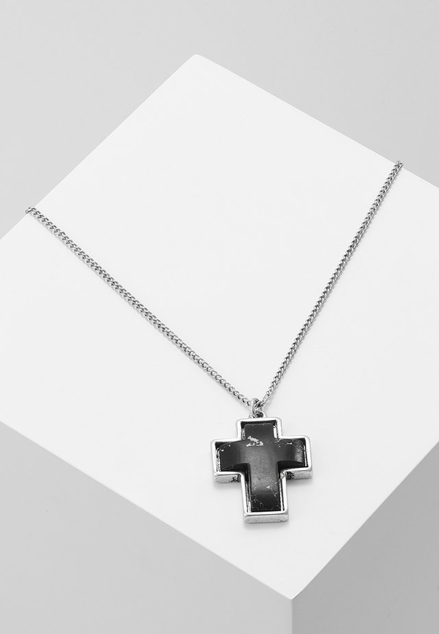 STONED CROSS NECKLACE - Ketting - black