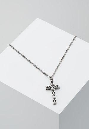 ENGRAVED CROSS TOWN NECKLACE - Náhrdelník - silver-coloured