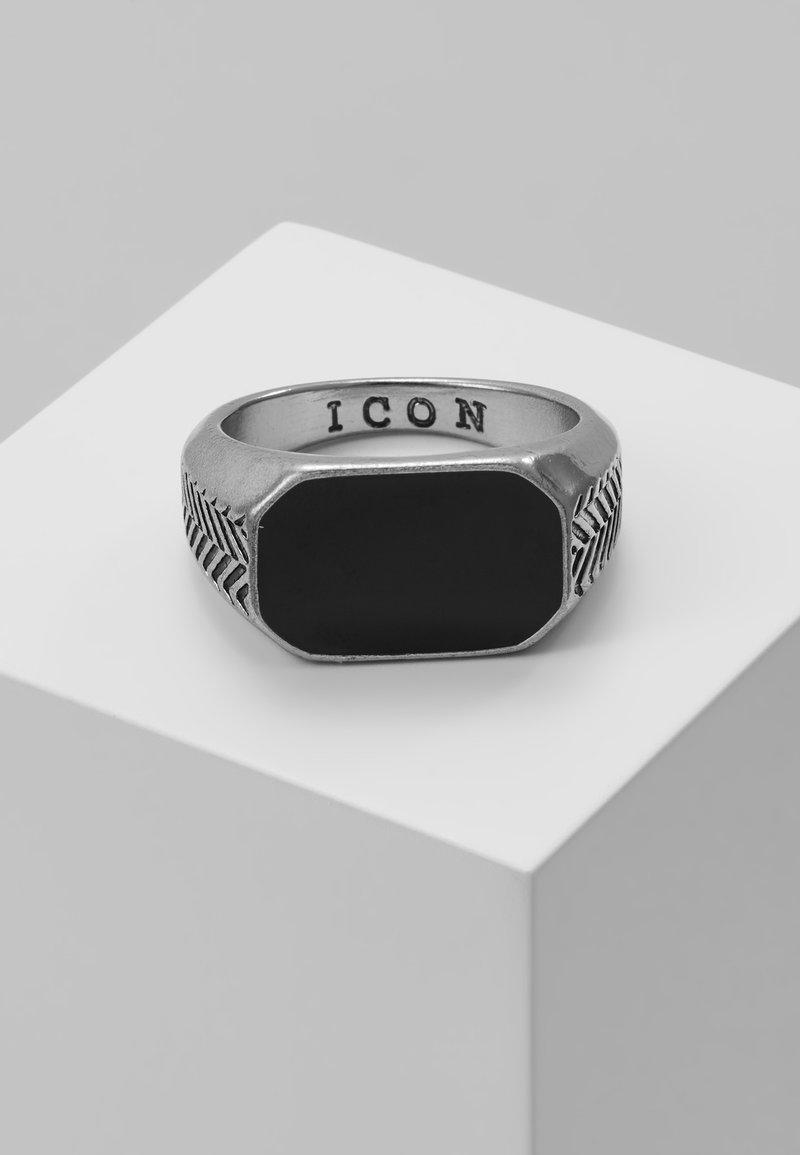 Icon Brand - HERRINGBONE SIGNET - Bague - antique silver-coloured/black