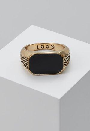 HERRINGBONE SIGNET - Ring - antique gold-coloured/black