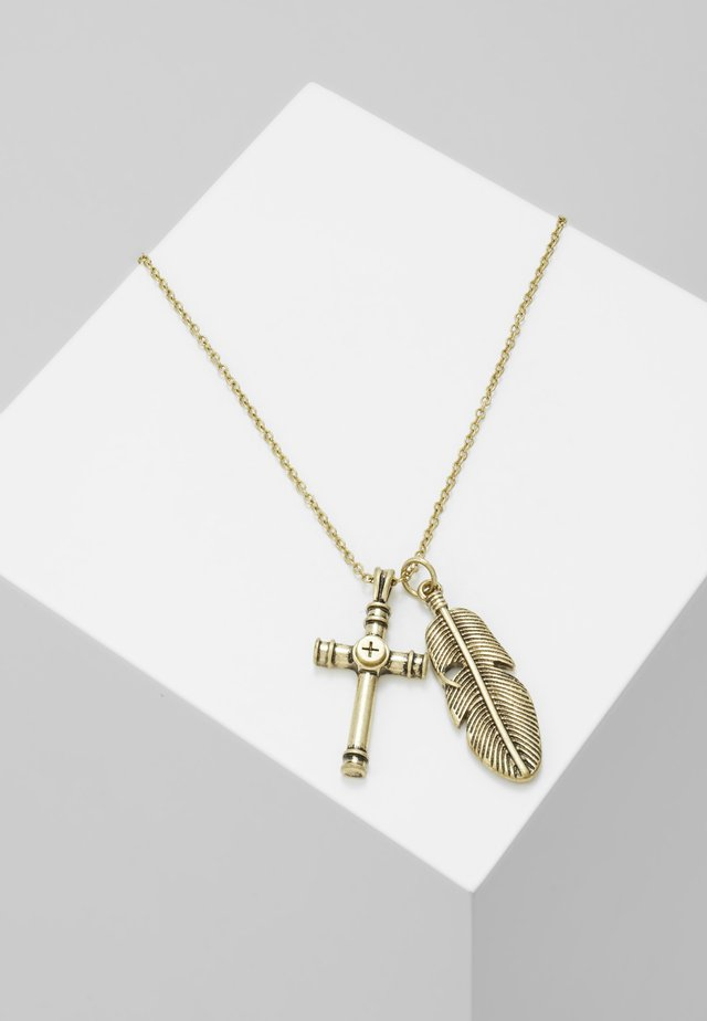 CROSS AND FEATHER NECKLACE - Collana - antique gold-coloured
