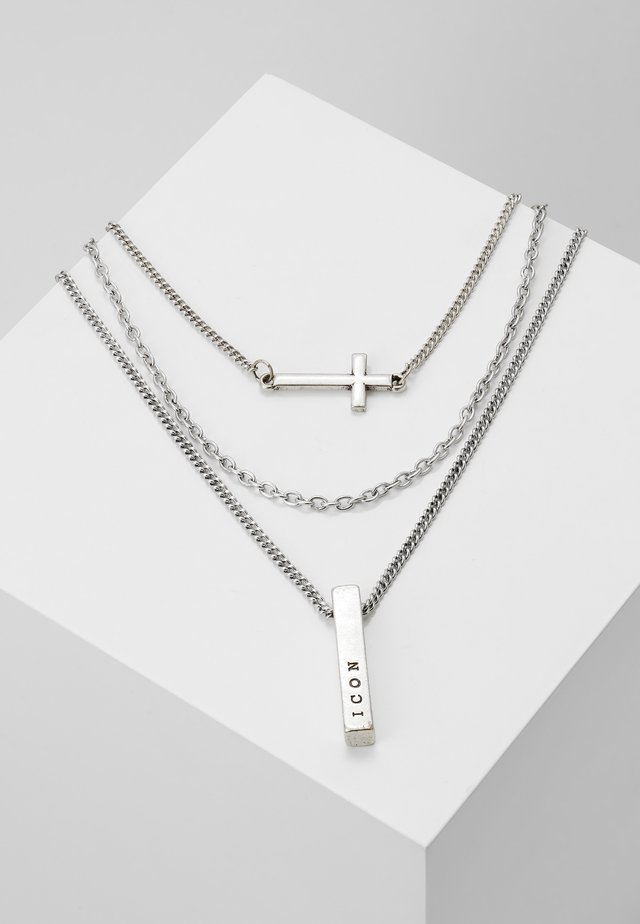 MULTIROW CROSS AND BAR NECKLACE 3 PACK - Necklace - silver-coloured