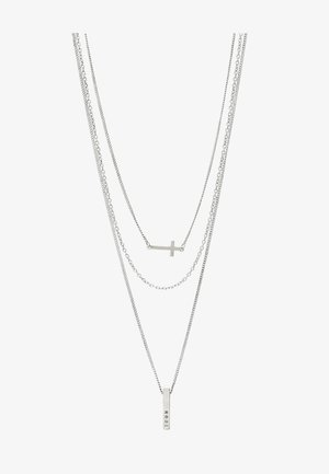 MULTIROW CROSS AND BAR NECKLACE 3 PACK - Ketting - silver-coloured