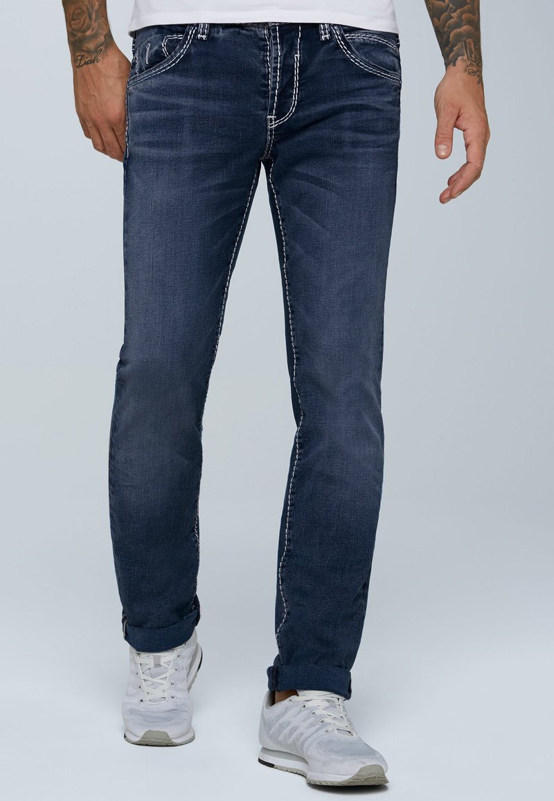 Camp David - MIT KNOPFVERSCHLUSS UND USED LOOK - Straight leg jeans - dark blue