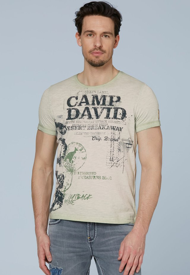 Print T-shirt - green/beige