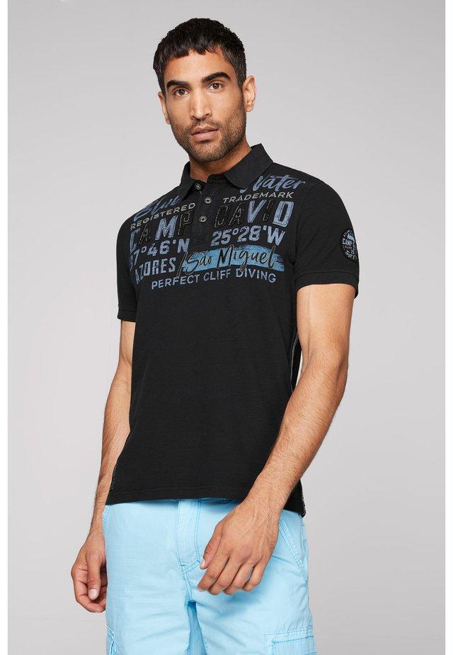 FLAMMGARN MIT TWILL-KRAGEN - Polo shirt - blue navy