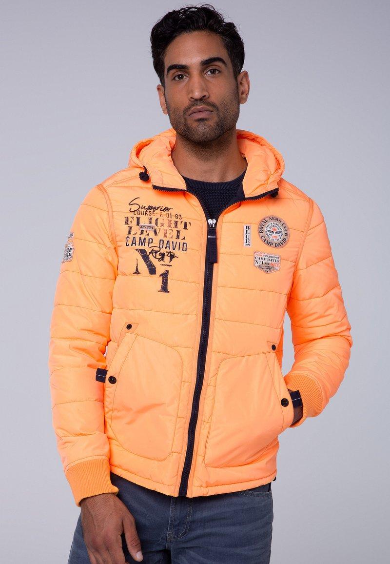 Camp David - MIT KAPUZE - Winter jacket - neon yellow
