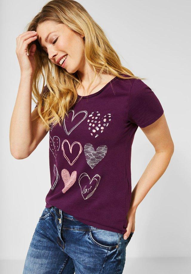 MIT HERZ-PRINT - T-Shirt print - lila