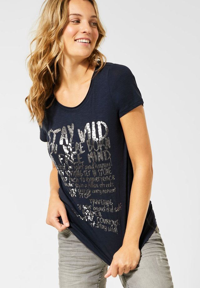MIT SCHRIFTZUG - T-Shirt print - blau