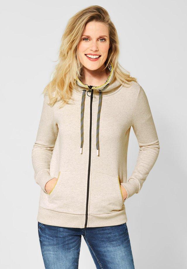 MIT MUSTER-KRAGEN - Zip-up hoodie - beige
