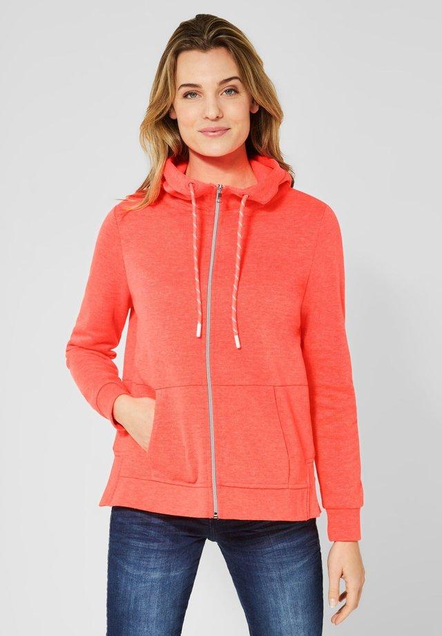 MIT SCHRIFT - Zip-up hoodie - orange